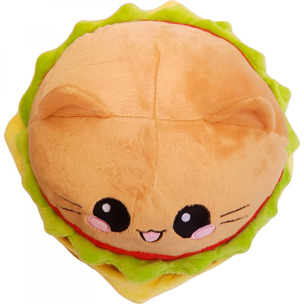 Burger Cat Kissen Emoticon Cheeseburger Katze