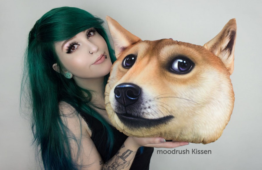 Doge Meme Kissen Cute Girl Much Wow Scene