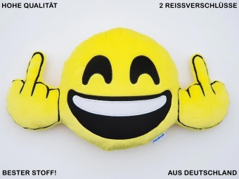 Happy Fuck You Mittelfinger Smiley Kissen Kiss Emoticon Chat Mobile Messenger Plüsch