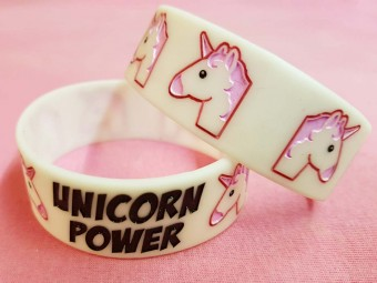 Rosa Einhorn Smiley Armband Leuchtend Unicorn Power