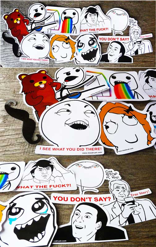 Rage Face Sticker Pedo Bär Meme Aufkleber Moustache Rainbows You Dont ...
